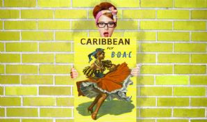 Caribbean, Fly B.O.A.C. - Decorative Arts, Prints & Posters,Wall Art Print, Poster , Vintage Travel Poster